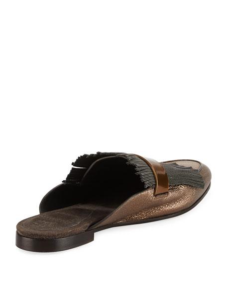 Metallic Leather Monili Mule Loafer, Pewter