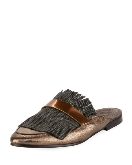 Brunello Cucinelli Metallic Leather Monili Mule Loafer, Pewter
