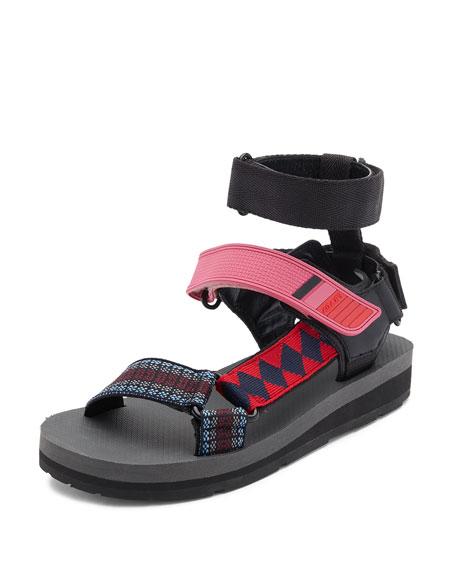 Prada Linea Rossa Printed Grip-Strap Sandal, Multi Pattern