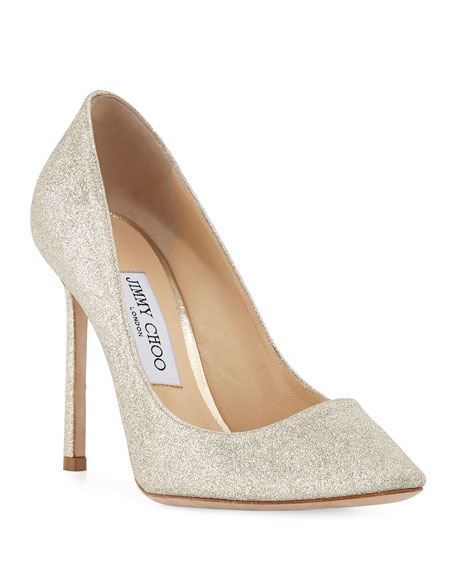 Jimmy Choo Romy Glittered 100mm Pumps, Silver