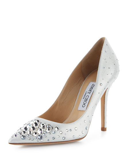 Jimmy Choo Abel Crystal Pointed-Toe Pump, White