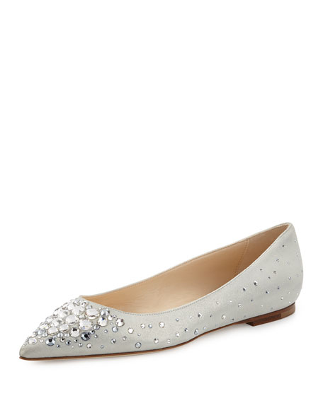 Jimmy Choo Alina Crystal Suede Flat, White/Crystal
