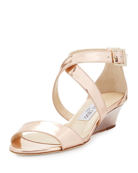 Jimmy Choo Chiara Mirrored Crisscross Wedge Sandal, Rose