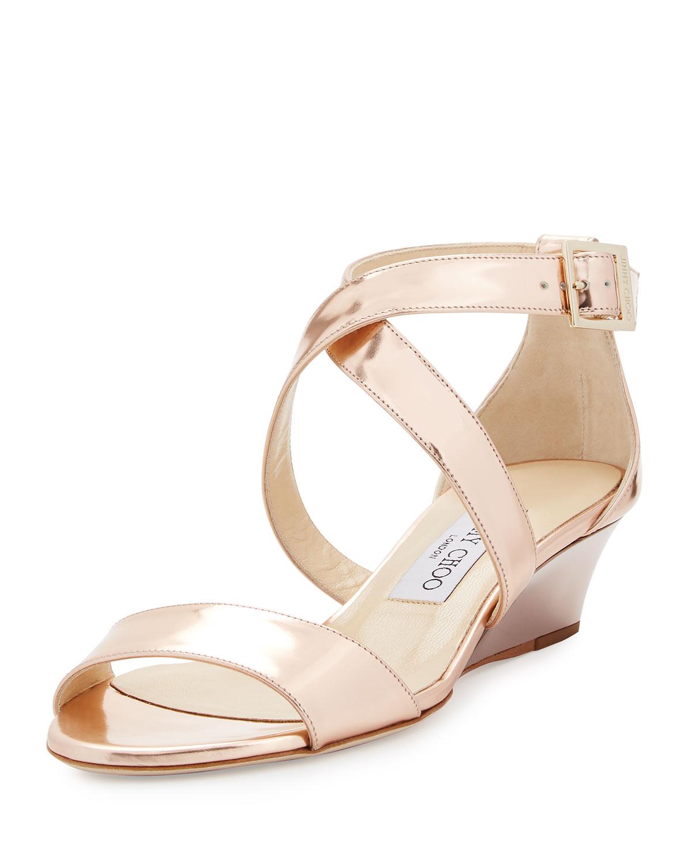 Quick Look. Jimmy Choo · Chiara Mirrored Crisscross Wedge Sandal, Rose Gold