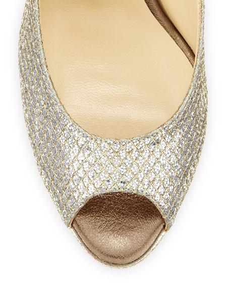 Nova Glitter Platform Slingback Sandal, Champagne