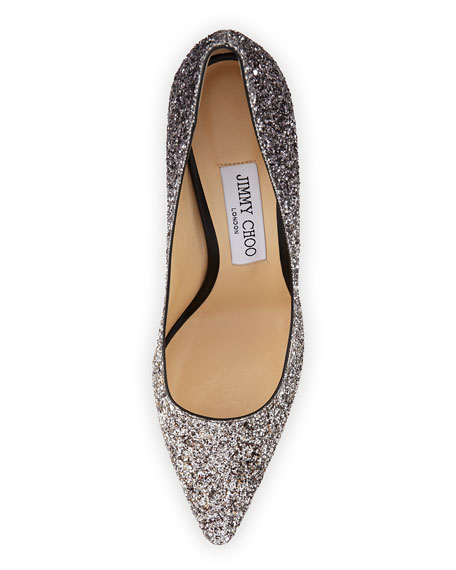 Romy Glitter Pointed-Toe 100mm Pump, Light Mocha/Black
