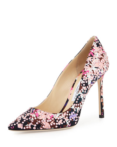 Romy Floral Pointed-Toe 100mm Pump, Dahlia/Brown