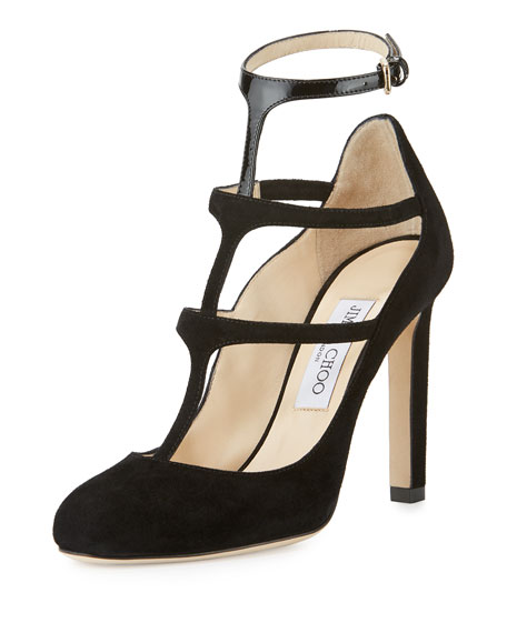 Jimmy Choo Doll Caged Suede 100mm Pump, Black