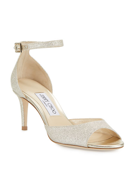 Jimmy Choo Annie Glitter 65mm Sandals, Platinum Ice