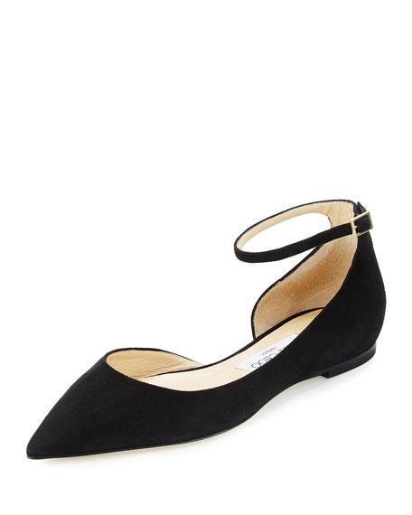 Jimmy Choo Lucy Suede Half-d'Orsay Flat, Black