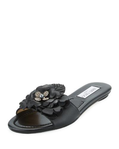 Neave Floral Leather Slide Sandal