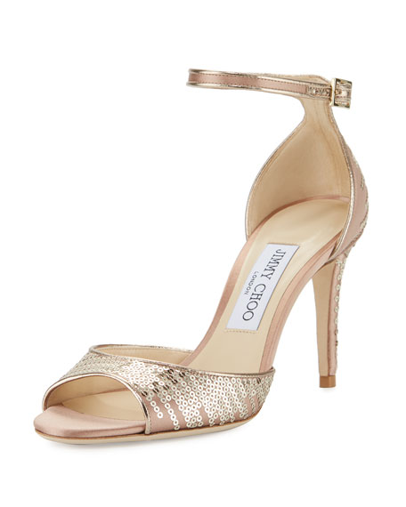 Jimmy Choo Annie Sequined 85mm Sandal, Tea Rose