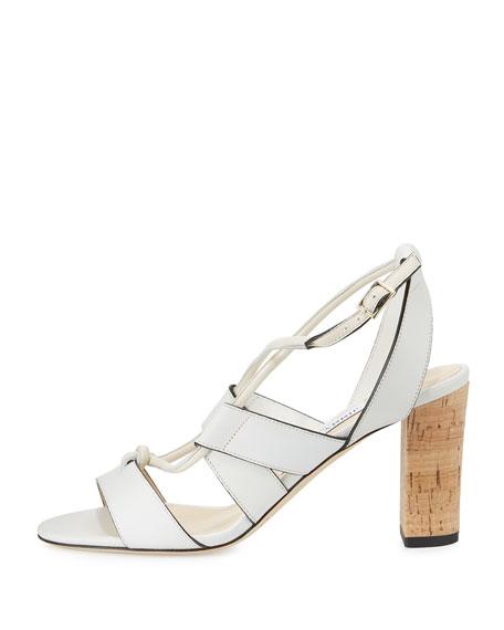 Margo Leather Crisscross 80mm Sandal, White