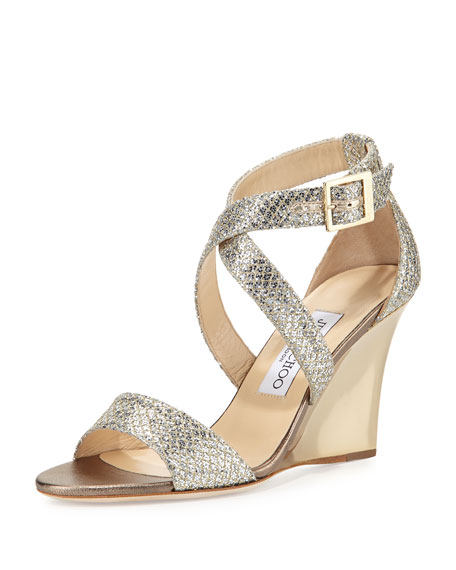 Jimmy Choo Fearne Glitter Crisscross Wedge Sandal