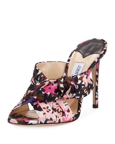 Jimmy Choo Keely Printed Bow 100mm Slide Sandal