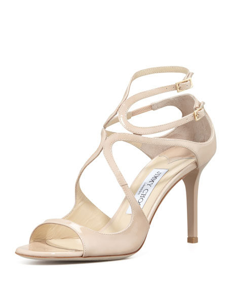 Jimmy Choo Ivette Strappy Patent Sandal, Nude