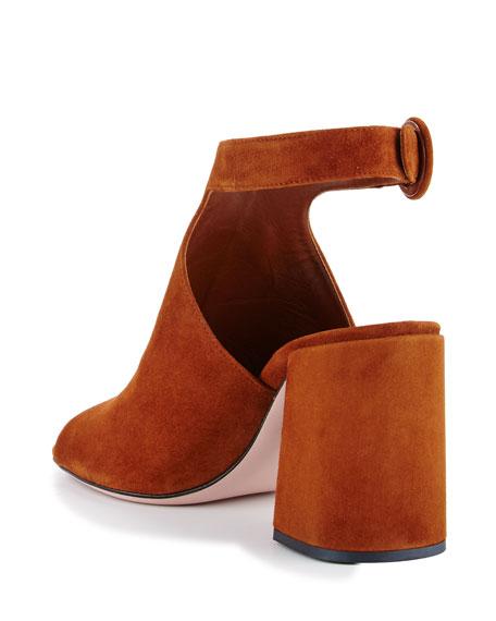 Suede Block-Heel Ankle-Strap Sandal