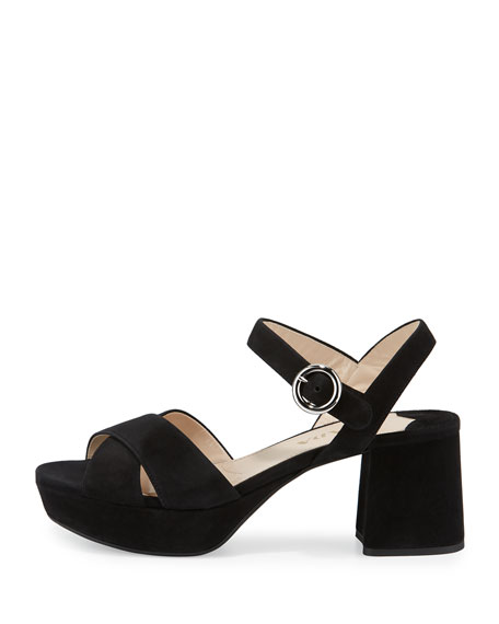 Suede Crisscross Ankle-Wrap 65mm Sandal