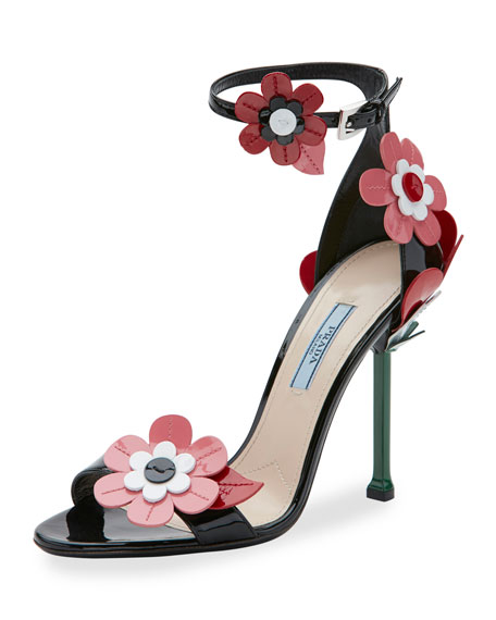Prada Floral Ankle-Wrap 85mm Sandal, Black (Nero)