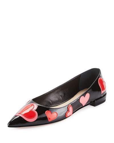 Heart-Appliqué Pointed-Toe Flat, Black (Nero)