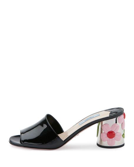 Floral-Heel 65mm Slide Sandal, Black (Nero)