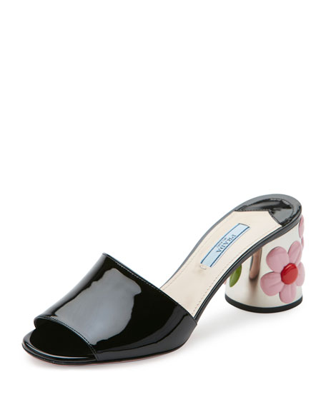 Prada Floral-Heel 65mm Slide Sandal, Black (Nero)