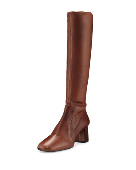 Leather Square-Toe Knee Boot, Burnt (Bruciato)