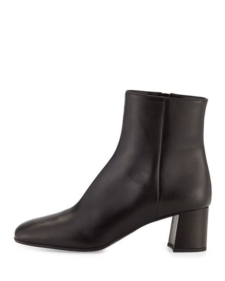 Leather Square-Toe 55mm Ankle Boot, Black (Nero)