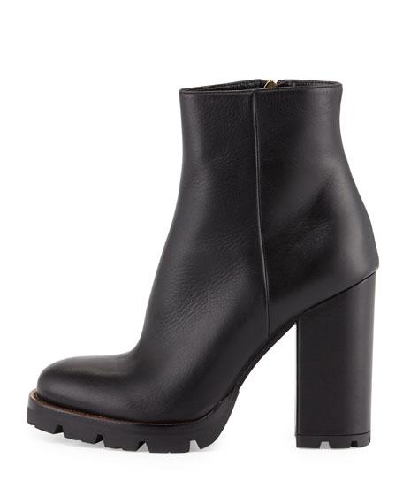 Prada Leather Chunky-Heel Ankle Boot, Black (Nero)