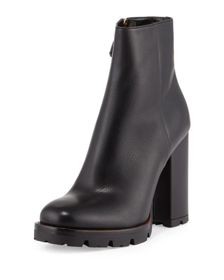 Prada Leather Chunky-Heel Ankle Boot, Black (Nero)