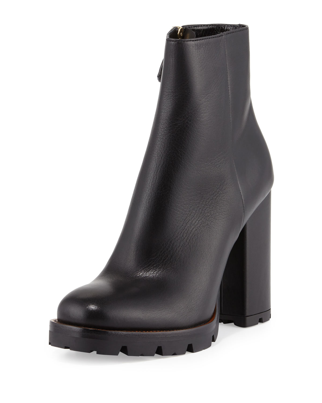 Prada Leather Chunky-Heel Ankle Boot