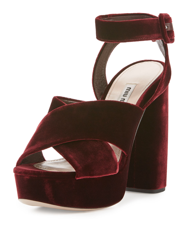c2c64bede54e Miu Miu Velvet Crisscross 125mm Sandals
