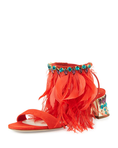 Miu Miu Jeweled Feather-Ankle 45mm Sandal, Lacca