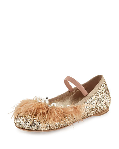 Miu Miu Feather-Trim Glitter Ballerina Flat