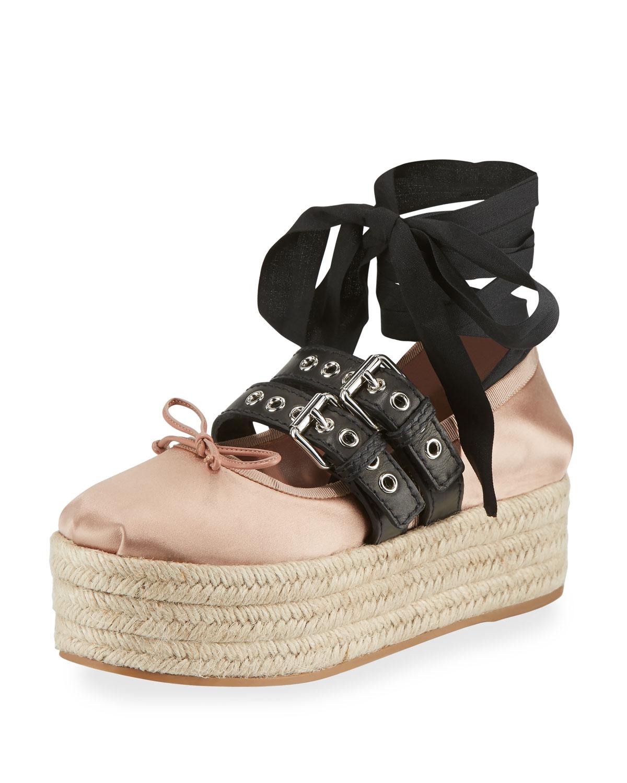Miu Miu Leather Ankle-Wrap Platform Espadrilles PvrIx3daVD