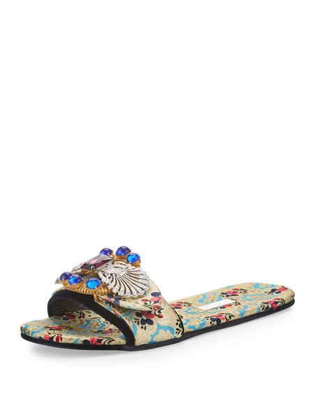 Miu Miu Mogador Anemone Slide Sandal, Turchese