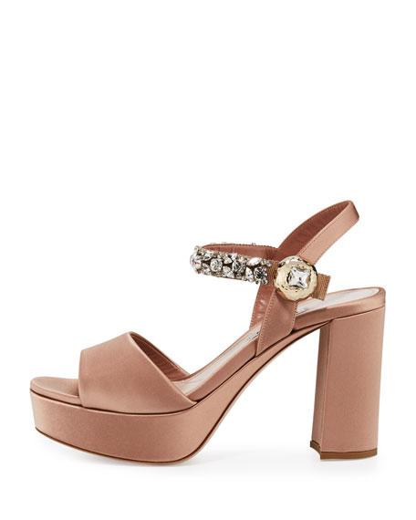 Crystal Satin Platform Sandal, Nudo