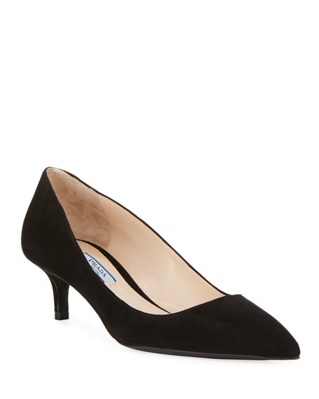 Prada Suede Pointed-Toe 45mm Pump