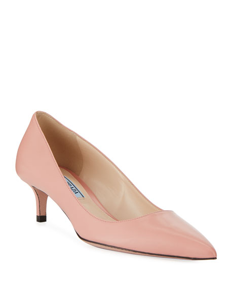 Prada Kidskin Leather 45mm Pumps, Pink