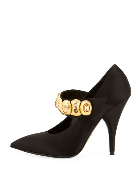 Embellished Satin Mary Jane Pump