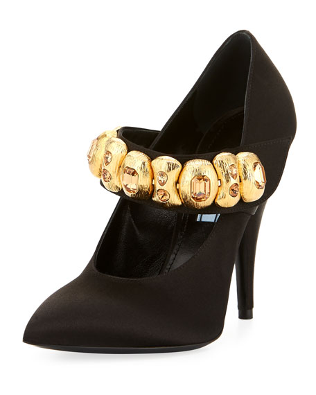 Prada Embellished Satin Mary Jane Pump