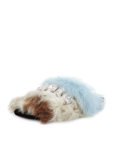 Prada Jeweled Colorblock Shearling Fur Flat Sandal