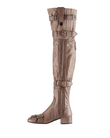 Multi-Buckle Leather Over-the-Knee Boot