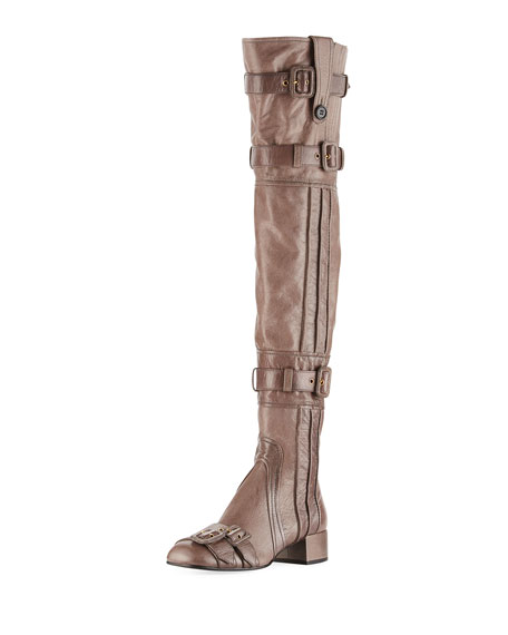Prada Multi-Buckle Leather Over-the-Knee Boot