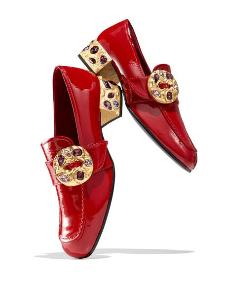 Patent Embellished 35mm Loafer, Red