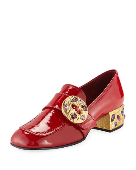 Prada Patent Embellished 35mm Loafer, Red