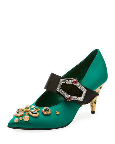 Embellished Satin 75mm Pump