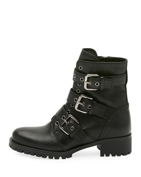 Leather Buckle Combat Bootie, Black