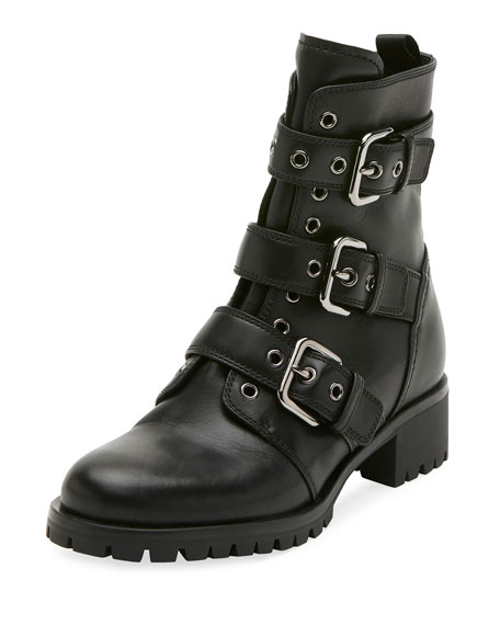 Prada Leather Buckle Combat Bootie, Black