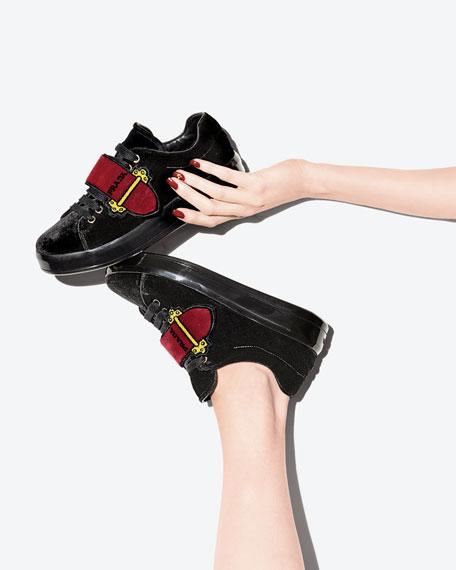 Velvet Grip-Strap Platform Sneaker